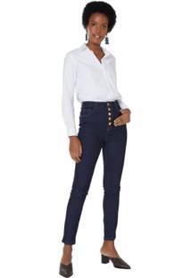 Calça Jeans Skinny Botões