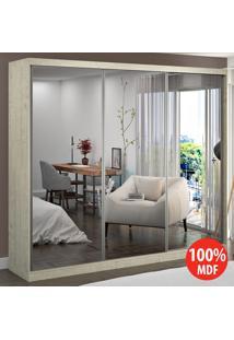 Guarda Roupa 3 Portas Com 3 Espelhos 100% Mdf 7318E3 Marfim Areia - Foscarini