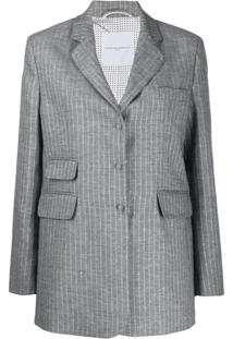 Ermanno Scervino Single Breasted Striped Print Blazer - Cinza