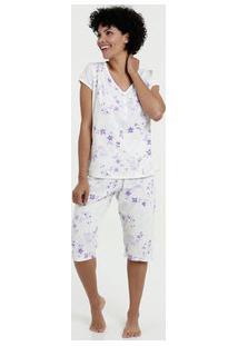 Pijama Feminino Bermudoll Estampa Floral Manga Curta Marisa