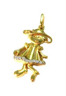 Pingente Pratamil Menininha De Ouro Com Zircônia - Feminino-Ouro