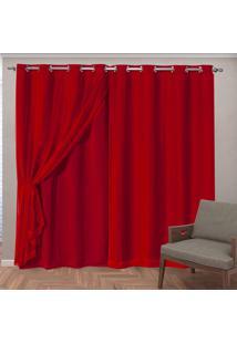 Cortina Tecido Blackout Com Voil 2,70 M X 2,30 M - Vermelho - Multicolorido - Dafiti