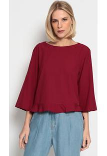 Blusa Lisa Com Vazado- Vermelho Escuroenna