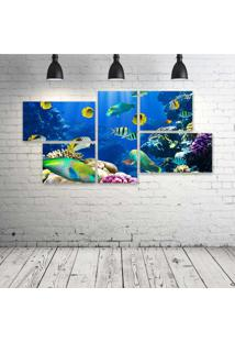 Quadro Decorativo - Underwater-Fish-Fishes-Tropical-Ocean - Composto De 5 Quadros - Multicolorido - Dafiti
