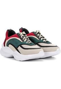 Tênis Chunky Capodarte Sneaker Feminino - Feminino-Bege+Verde