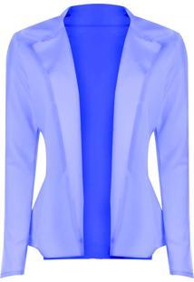 Blazer Outlet Dri Neoprene Sem Botão Detalhe Lateral Babado Azul Bebê