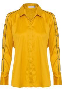 Camisa Feminina Ombro Vazado Com Botões - Amarelo