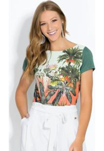 Blusa Com Mangas Curtas Tropical