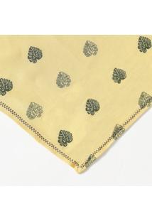 Lenço Folhagens Com Pespontos- Amarelo Escuro & Verde