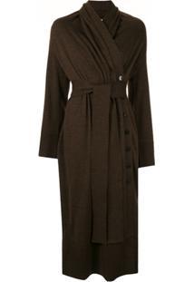 Akira Naka Wrap Style Knitted Dress - Marrom