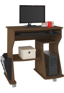Escrivaninha/Mesa Para Computador 160 Amêndoa Com Preto E Porta-Revista Lateral - Artely