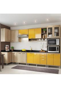 Cozinha Completa 15 Portas 3 Gavetas Com Tampo Sicilia 5831 Premium Argila/Amarelo - Multimóveis