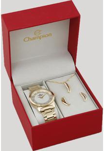 Kit De Relógio Analógico Champion Feminino + Colar + Brinco - Cn26386W Dourado - Único