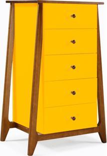 Cômoda Stoka 5 Gavetas Amarelo Laca M40