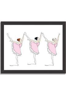 Quadro Decorativo Infantil Bailarinas Em Arabesque Preto - Grande