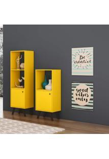 Estante Com 1 Porta Retrô Domus Baixa Delmarco Móveis Amarelo