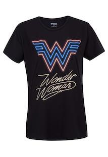 Camiseta Mulher Maravilha Liga Da Justiça 80'S - Feminina - Preto