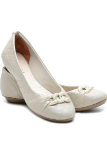 Sapatilha Ded Calçados Bico Redondo Feminina - Feminino-Off White