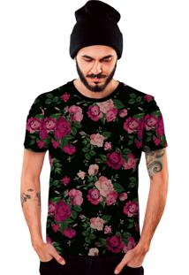 Camiseta Di Nuevo Floral Preta E Rosa Top Preta