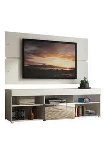 Rack Com Painel Para Tv Até 65 Polegadas Madesa Dublin 1 Porta Com Espelho Branco