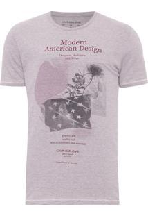 Camiseta Masculina Ckj Est Modern American - Rosa