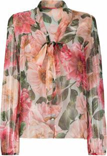 Dolce & Gabbana Blusa Com Estampa Floral De Seda - Rosa