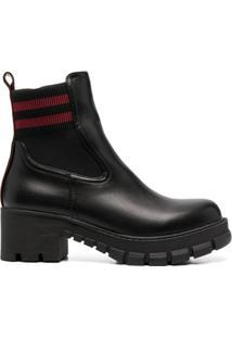 Buffalo Ankle Boot Com Listras - Preto