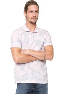 Camisa Polo Aramis Reta Folhagem Ótica Rosa