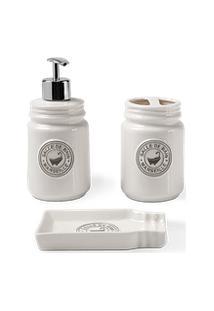 Conjunto Banho Pottery 3 Peças Branco - Haus Concept Branco Haus Haus