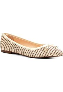Sapatilha Shoestock Listrada Palha Bico Fino Feminina - Feminino-Off White