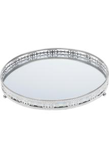 Bandeja Ferro Redonda Prata 25.5Cm Com Espelho Bunch Prestige