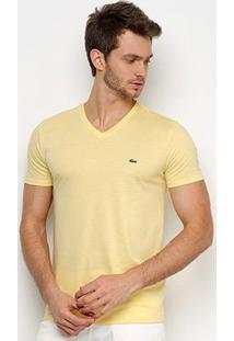 Camiseta Lacoste Gola V Regular Fit Masculina - Masculino-Amarelo Claro