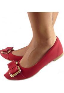 Sapatilha Likka Calçados Bico Fino Vermelha