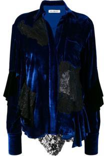 Almaz Jaqueta De Veludo E Seda - Azul