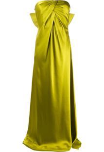 Alberta Ferretti Vestido Longo Com Detalhe De Laço - Verde