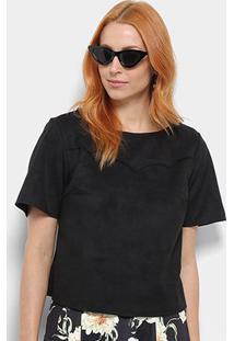 Camiseta Camurça Dimy Feminina - Feminino-Preto