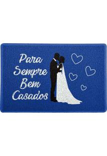 Capacho Para Sempre Bem Casados Azul 0,40X0,60M Beek