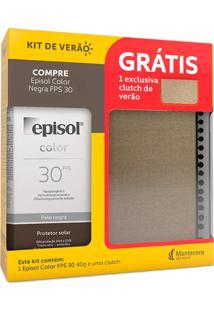 Protetor Solar Episol Color Pele Negra Fps 30 Loção Com Efeito De Base 40G + Grátis 1 Exclusiva Clutch De Verão Sortida
