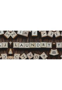 "Tapete Transfer ""Laundry""- Bege & Marrom- 90X40Cm"