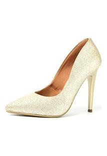 Scarpin Factor Salto Alto - Glitter Ligth Ouro