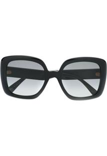 Gucci Eyewear Óculos De Sol Quadrado Com Detalhe Web - Preto