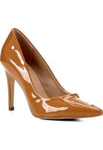 Scarpin Shoestock Salto Alto Naked - Feminino-Castanha