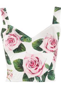 Dolce & Gabbana Blusa Cropped Com Estampa De Rosas - Branco