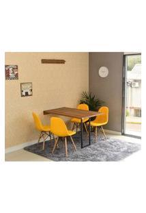 Conjunto De Mesa Dobrável Retrátil 120 X 75 Noronha + 4 Cadeiras Botonê - Amarela