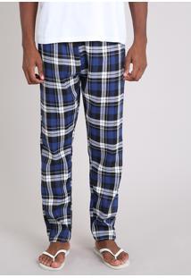Calça De Pijama Masculino Em Flanela Xadrez Azul Marinho