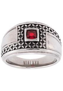 Nialaya Jewelry Anel Com Detalhe De Pedra - Prateado