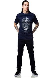 Camiseta Zero Indian Skull Masculina - Masculino-Marinho