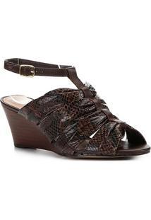 Sandália Anabela Couro Shoestock Drapeado - Feminino-Marrom