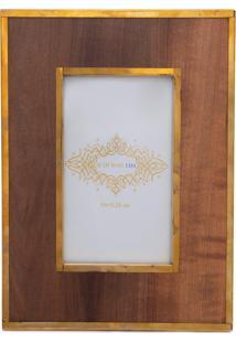 Porta Retrato Wood Gold - Marrom