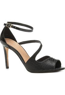 Sandália Shoestock Salto Fino Snake Feminina - Feminino-Preto